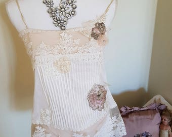 wearable art, art to wear, boho wedding top, hand stitched, floral appliques, 3D leaves, EXQUISITE lace