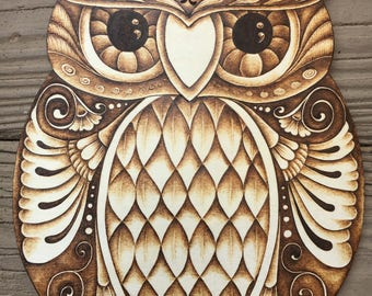 Wise Old Owl  Plaque - Pyrography on Birch Wood