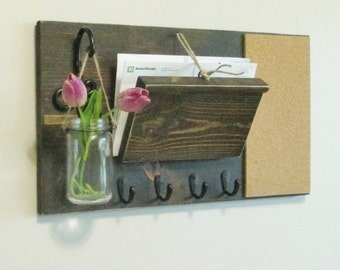 Unique Rustic Stained Farmhouse Kitchen or Office Organizer..Mail and Key Holder..Cork board..Key Hooks..Hanging Glass jar...Ready to ship