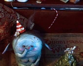 EXTRA SALE!!! - Merry Snotmas! - art doll ooak pure sculpt fantasy fairytales goblin doll elf christmas creature, christmas tree, snot balls