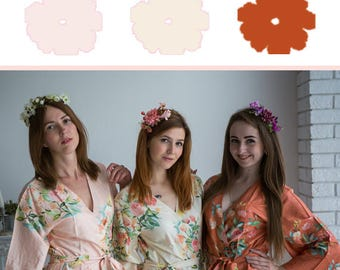 Ivory, Blush and Rust Wedding Color Bridesmaids Robes - Premium Rayon Fabric - Wider Belt and Lapels - Wider Kimono sleeves