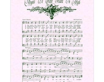 ANGELS We Have Heard On HIGH Christian Home & Office Decor Vintage Verses Hymn Sheet Music Wall Art Print Christmas Carol Wall Art  Sale