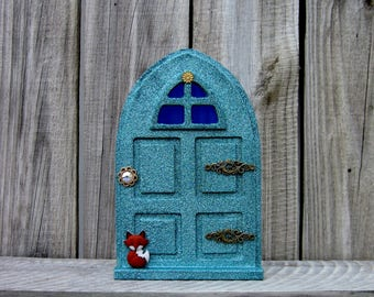 Fairy Door, Sparkly, Green, Indoor Fairy Door, Pretend Play, Childs Gift, Fairy, Magical Portal, Painted Wood, Miniature Door, Fairy Play
