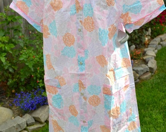 Vintage House Dress Summer Robe - Sears Snap Front Housecoat - Pink Aqua Flowers - SM NWT