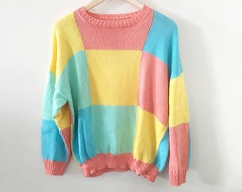 80's Pastel Color Block Sweater