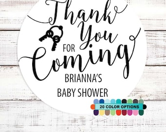 Thank You For Coming - Personalized Round Baby Shower Sticker Labels - Available in 8 Different Sizes - Baby Shower Sticker Label