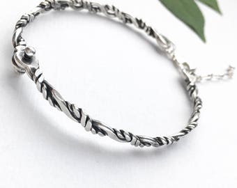 Sterling Silver Twisted Wire Hinged Bangle Bracelet - Oxidized Silver Bracelet - Adjustable Twisted Wire Bangle - Everyday Silver Jewelry