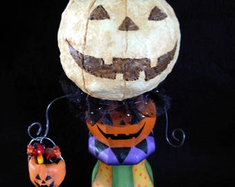 Sweet Pumpkin Man with Basket of Treats |Clay - Papier Mache | Handpainted | Sculpture