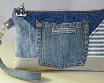 Denim wristlet repurposed denim purse wallet