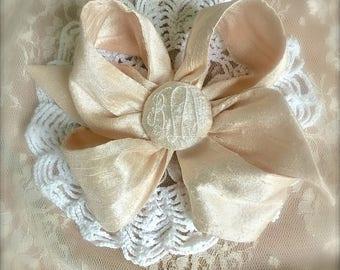 Silk Bow Elegant Monogram Personalized  Flower Girl Wedding Beach Special Occasion