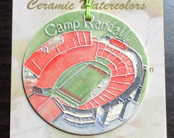 CAMP RANDALL Stadium ornament + free gift wrap Locally handmade ceramic UW grad Madison Wi alum son daughter family student band member gift