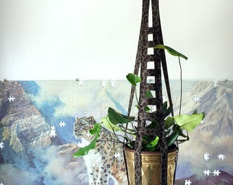 Olive Green Leopard Ladder – Plant Hanger – 24 inches tall - works with 4-6 inch pot