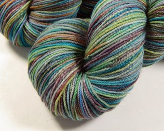 Hand Dyed Sock Yarn - Sock Weight 4 Ply Superwash Merino Wool Yarn - Potluck Watercolors - Knitting Yarn, Hand Dyed Yarn, Blue Speckled Yarn