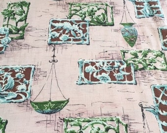 "50s ""Durbar"" Birchwood Prints//Vintage Barkcloth//Garden Party of Grills and Planters of Aqua, Brown, Olive on Pink Ground"