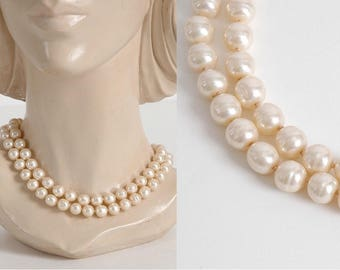 Vendome glass pearl necklace with sterling clasp * AC135