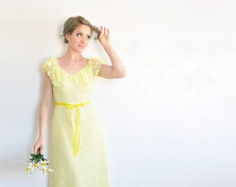sheer lemon yellow 1970 maxi dress . bohemian bridesmaid gown .extra small.xs