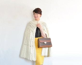 crocheted ivory cape coat . scalloped edge sweater cape .small.medium.large .sale
