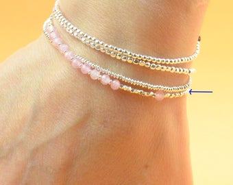 Rose quartz and sterling silver beads bracelet