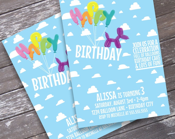 Birthday Balloon Party Invitation - Balloon Birthday, Balloon Party, Balloon Animals  | Editable Text - Instant Download PDF Printable