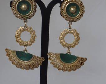 Vintage Spanish Style Filigree Large Earrings