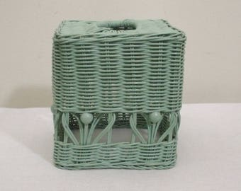 Vintage Green Wicker & Beads Tissue Box Cover