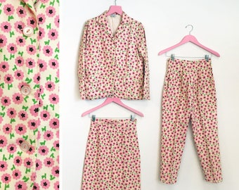 Vintage 1960s 3 Piece Pink Green Yellow Black White Flower Power Floral Print 100% Cotton Pant/Skirt Suit Size XS-S by Starlight