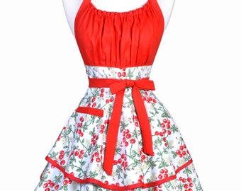 Womens Flirty Chic Apron - 50s Style Red Cherries on White Cute Retro Vintage Pin Up Kitchen Cooking Apron with Pocket and Full Skirts (DP)