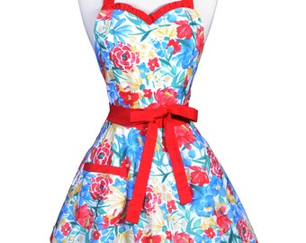 Sweetheart 50s Womens Apron / Bloomers Blue Red Yellow Summer Floral Retro Cute Flirty Vintage Style Pin Up Apron with Fitted Bodice (FM)