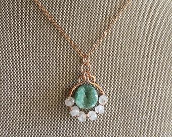 Teal Druzy Moonstone Pendant Necklace in 14k Rose Gold Fill