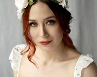 Bridal floral headpiece, shabby chic flower crown, blush woodland crown, ivory flower headband, wedding flower wreath, bridal accessories
