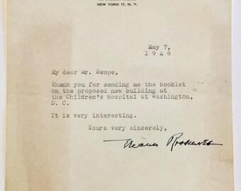 1946 Autograph/Letter Eleanor Roosevelt