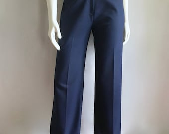 Vintage Women's 70's Navy Blue, Polyester Pants, High Waisted, Tapered Leg (S)