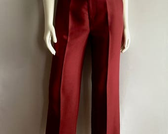 Vintage Women's 80's Burgundy Polyester Pants, High Waisted, Tapered Leg (M)