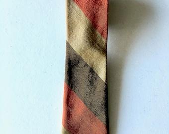 Vintage Neckties Men's 70's Striped, Skinny, Clip On Tie by De Luxe Cravat