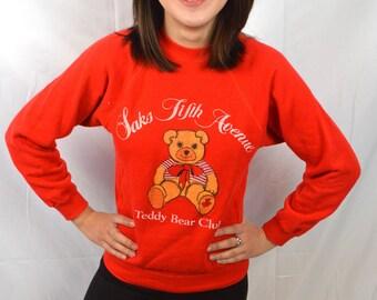 Vintage Saks Fifth Avenue Red Teddy Bear Sweatshirt - XS