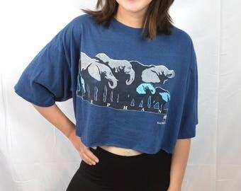 Awesome Vintage 80s WWF World Wildlife Fund Elephant Super SOFT Cropped Tshirt Tee Shirt