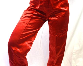 Fun Vintage Bright Red 1970s 70s Shiny Party Pants