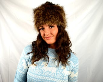 Vintage 1960s Fur Winter Ski Bunny Hat