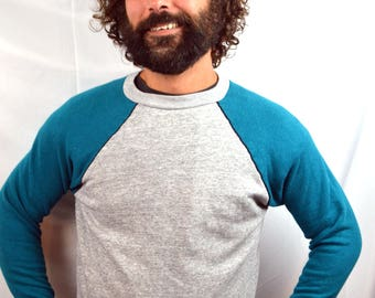 Vintage 80s Gray Teal Sweatshirt