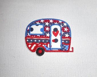 Free Shipping Ready to Ship Fourth of  July Camper Machine Embroidery iron on applique