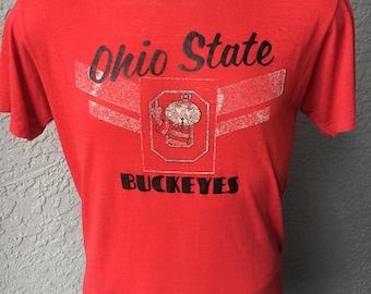 Ohio State University 1980s vintage threadbare t-shirt red size large Buckeye