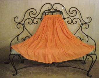 Cotton Gauze Long Full Skirt Summer Coral Orange Boho Gypsy Chic ML