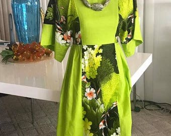 Fabulous Vintage Lime Green Tropical Dress from the 1960's -- Tiki Oasis -- Size S