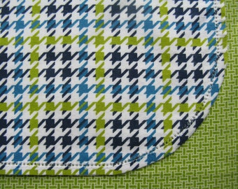 Hemstitched flannel baby receiving blanket.