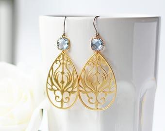 Light Blue Sapphire Matte Gold Filigree Earrings Titanium Gold Peacock Feathers Boho