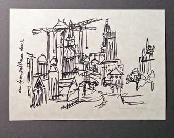 sketchbook print - Liverpool Salthouse Dock 5x7 digital print