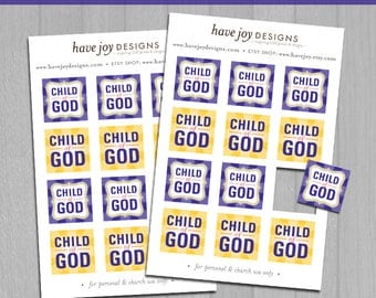 "2018 LDS Primary Theme 1""x1"" Square Tiles Printable (Instant Download) - I Am a Child of God"