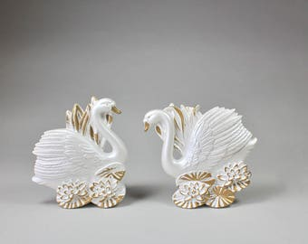Vintage White Swan Wall Hangings Miller Studios Plaster Swan Wall Decor Set Of Two Swans 1980s