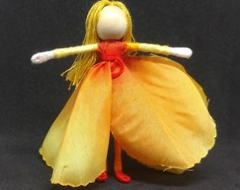 Ombre Orange Flower Fairy Doll