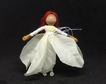 Christmas Fairy - Red headed Poinsettia Fairy - Waldorf Flower Fairy Doll - Christmas ornament